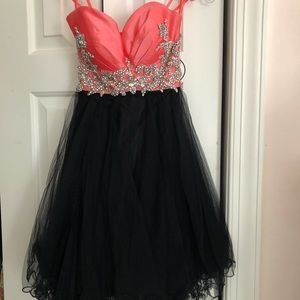 Coral and black dress
